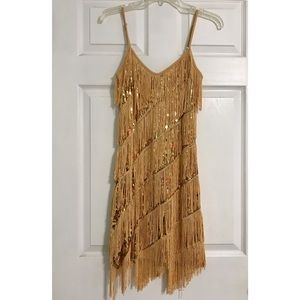 Gold Fringe Dress